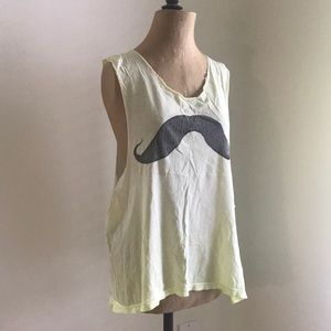 Wildfox vintage wash mustache muscle tank top tee